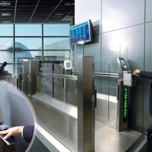 Solution for automatic gate in airport. Zoom on checking system.